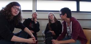christian bliver interviewet af Simone, Mathias og jeg